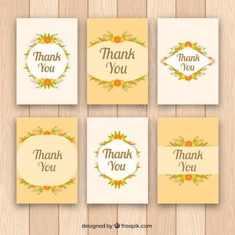 Collection de cartes de remerciement avec des fleurs