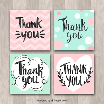Collection de cartes de remerciement vert et rose merci