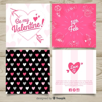 Collection de cartes de saint valentin calligraphiques