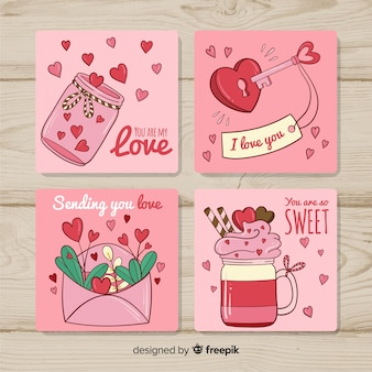 Collection de cartes de saint valentin dessinées à la main