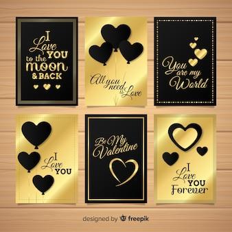 Collection de cartes saint valentin avec détails dorés