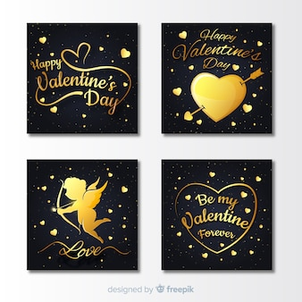Collection de cartes de la saint-valentin d'or