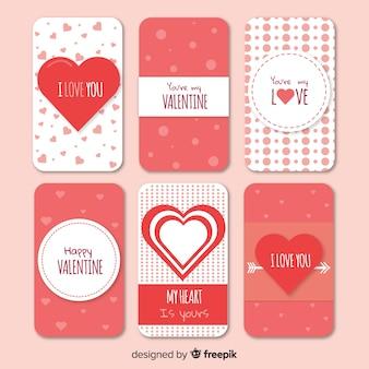 Collection de cartes de la saint valentin à plat