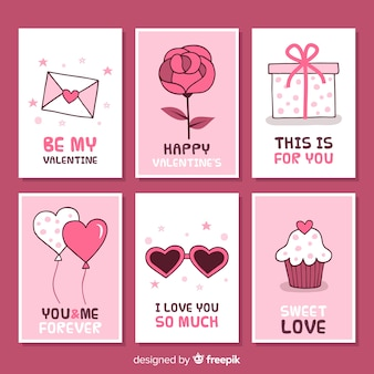 Collection de cartes de saint valentin simple