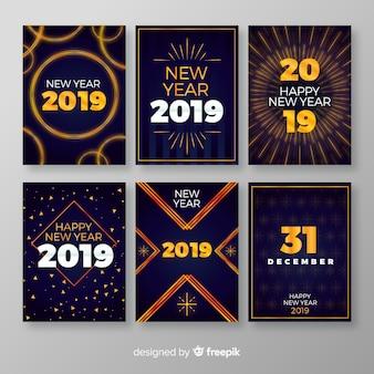 Collection de cartes simple fête du nouvel an