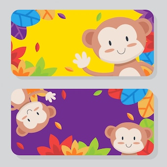 Collection de cartes de singe mignon