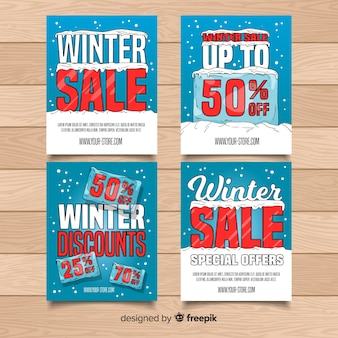 Collection de cartes de soldes d'hiver ice block
