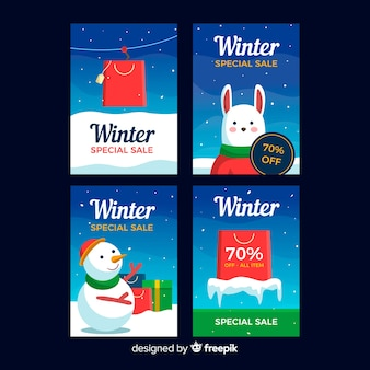 Collection de cartes de soldes d'hiver