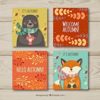 Collection de cartes de souhaits d'automne
