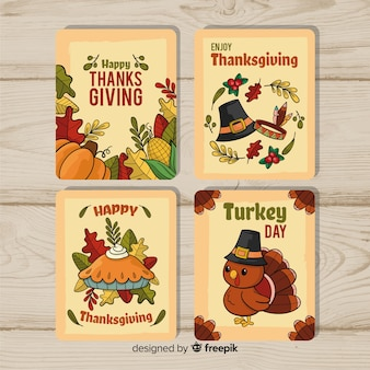 Collection de cartes de thanksgiving dessinée à la main
