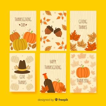 Collection de cartes de thanksgiving dessinée à la main