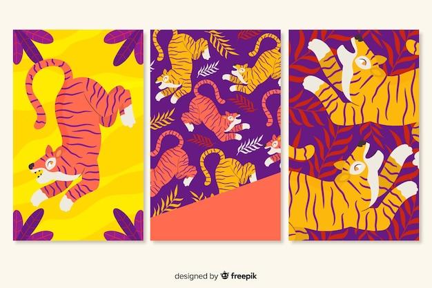 Collection de cartes tigre dessiné à la main