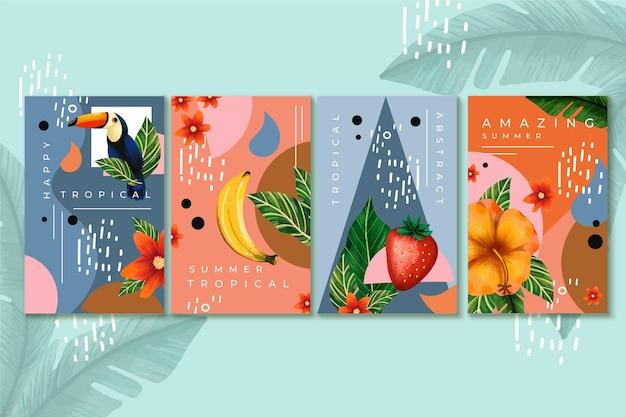 Collection de cartes tropicales abstraites