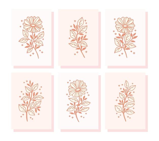 Collection de cartes de valentine dessinés à la main avec des éléments de branche de fleur et feuille de marguerite