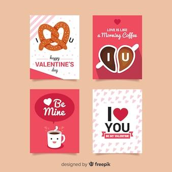Collection de cartes valentine pour le petit déjeuner