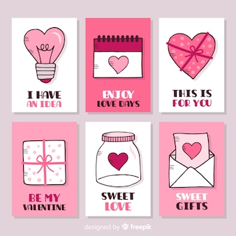 Collection de cartes valentine