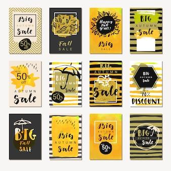 Collection de cartes de vente d'automne