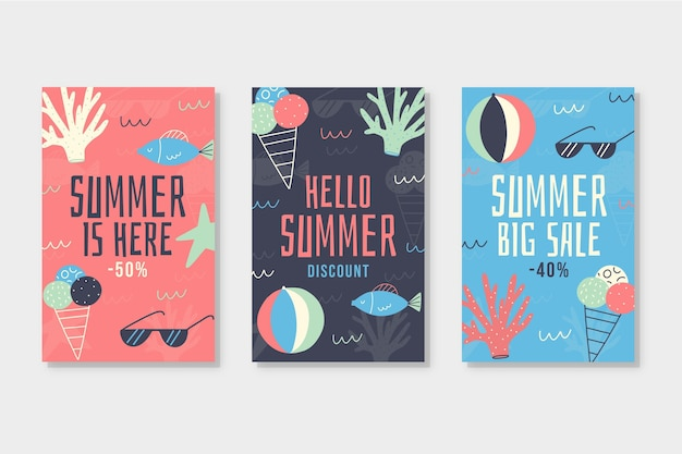 Collection de cartes de vente d'été dessinés à la main