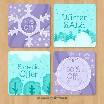 Collection de cartes de vente hiver dessinés à la main