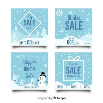 Collection de cartes de vente d'hiver de flocons de neige