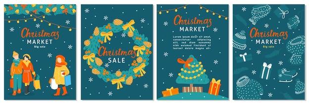 Collection de cartes de vente de noël dans un style doodle