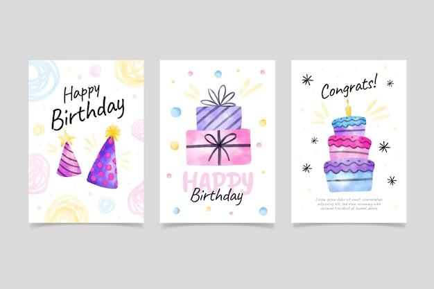Collection de cartes de voeux d'anniversaire aquarelle