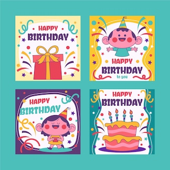 Collection de cartes de voeux d'anniversaire dessinés à la main