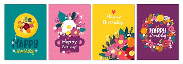 Collection de cartes de voeux d'anniversaire dessinés à la main