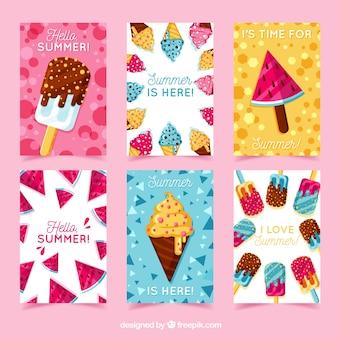Collection de cartes de voeux d'été