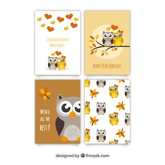 Collection de cartes de voeux fantastiques avec hiboux mignons