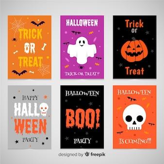 Collection de cartes de voeux halloween de six