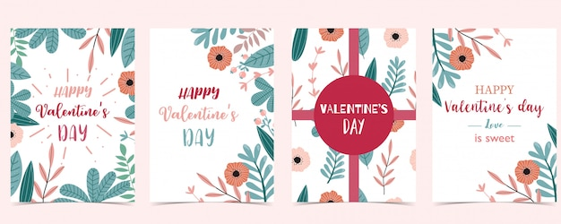 Collection de cartes de voeux happy valentines day, thème tropical
