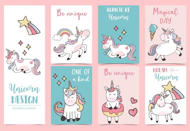 Collection de cartes de voeux licorne sertie d'arc-en-ciel, licorne, coeurs