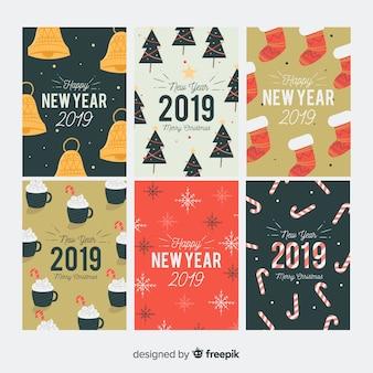 Collection de cartes de voeux de nouvel an