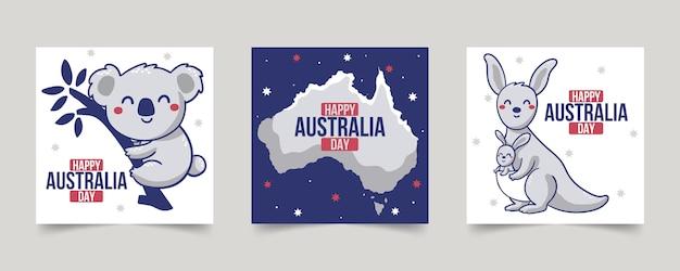 Collection de cartes de voeux pour le jour de l'australie