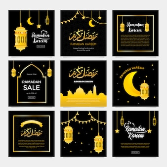 Collection de cartes de voeux ramadan