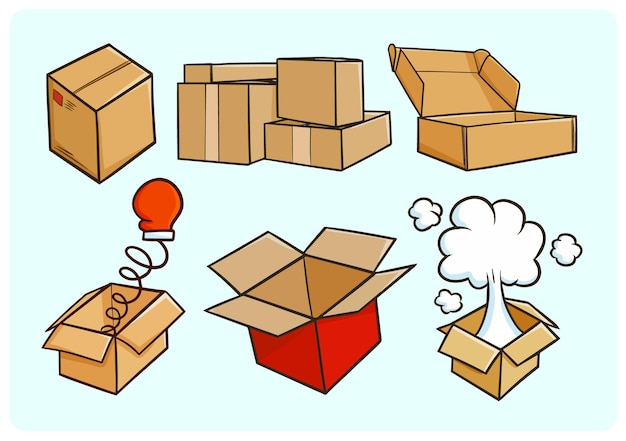 Collection de cartons drôles dans un style simple doodle