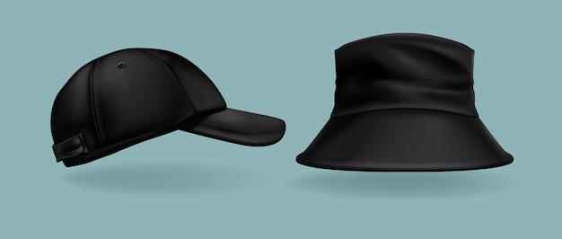 Collection de casquettes noires réalistes