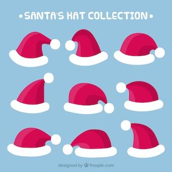 Collection de casquettes de père noël dessinés à la main
