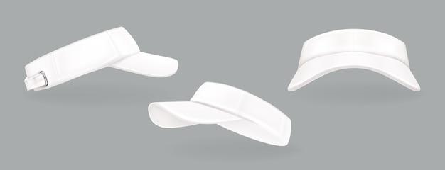 Collection de casquettes de tennis blanches réalistes