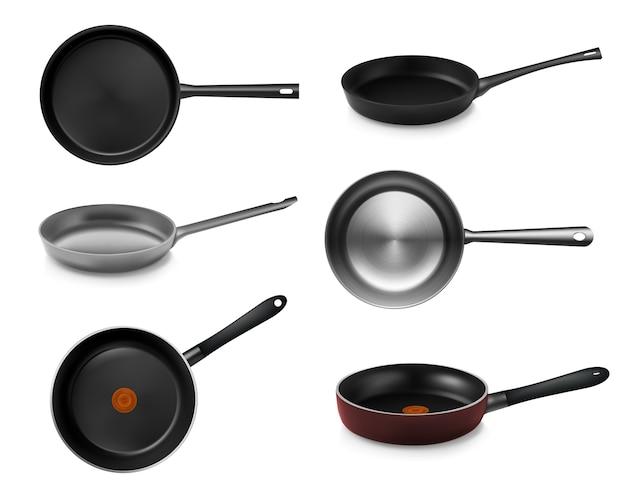 Collection de casserole et poêle réaliste