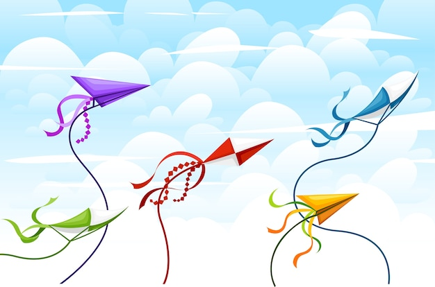 Collection de cerfs-volants colorés. objets d'activités d'été en plein air. jouets volants mignons. animation de vacances pour enfants. illustration avec fond de ciel et de nuages.
