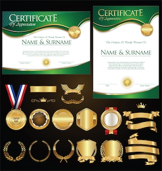 Collection de certificats badges labels boucliers et lauriers