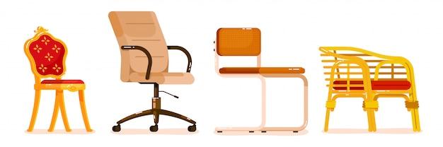 Collection de chaises différentes sur blanc