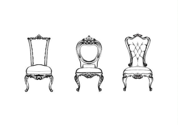 Collection de chaises de luxe baroques