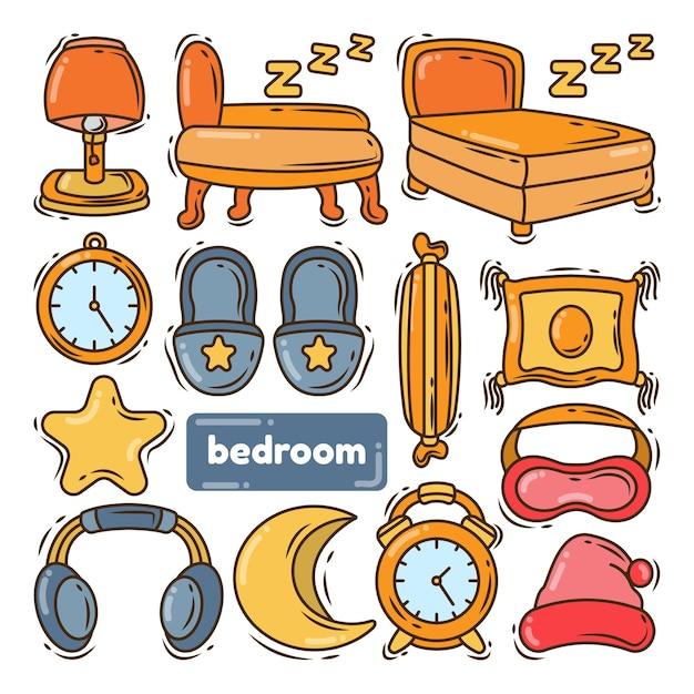 Collection de chambre à coucher doodle dessin animé dessiné à la main