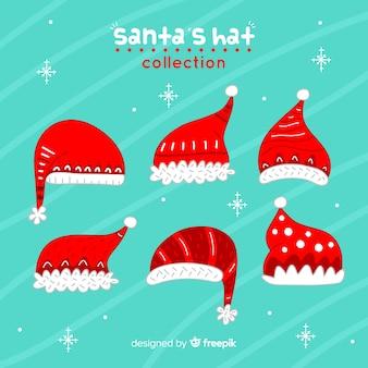 Collection de chapeau de père noël originale dessinée à la main