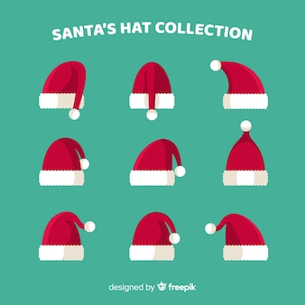 Collection de chapeaux du père noël au design plat
