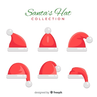 Collection de chapeaux du père noël différentes positions