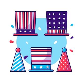 Collection de chapeaux de fête du dessin animé du jour de l'indépendance du 4 juillet